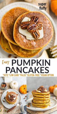 These Keto Pumpkin Pancakes are soft, thick, fluffy and so easy to make in just one bowl with no blender required. Just 3g net carbs & made with low carb, gluten free and sugar free ingredients with paleo and vegan options. They come together in under 20 minutes and are the perfect healthy pumpkin pancakes for fall and make a delicious low carb breakfast, weekend / Sunday brunch for Thanksgiving and all through the holidays!