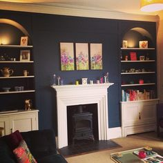 Our new living room #farrowandball #farrow&ball #stiffkeyblue #bluepaint #interior #decor #livingroom #cornforthwhite