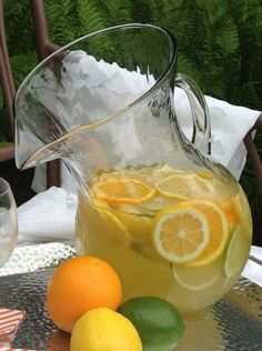 Overnight Sangria Recipe  3 oranges, thinly sliced 4 lemons, thinly sliced 4 limes, thinly sliced 1 1/2 cups sugar 1/2 cup tequila 1 bottle #NeilEllis Sauvignon Blanc, chilled 1 bottle #Delamotte Brut NV Champagne, chilled 2 cups club soda 2 cups lemonade