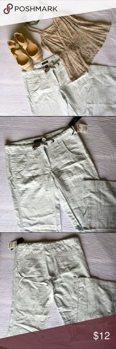 NWT... Light baby blue linen pants size 4 NWT... Willi Smith Light baby blue linen/ cotton pants. They have pockets front and back. Two steel gray grommets with drawstring button and hook closer with zipper. The price is only for the pants other items sold separately. Willi Smith Pants Trousers