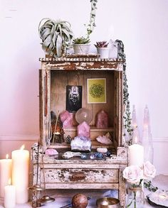 Altar & Home - #candlemagick Autel Wiccan, Wicca Altar, Wiccan Decor, Witchcraft, Magick, Spiritual Decor, Spiritual Photos, Meditation Corner, Meditation Space