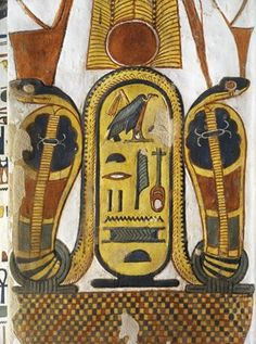 """Egypt, Thebes (UNESCO World Heritage List, 1979) - Luxor - Valley of the Queens. Tomb of Nefertari. Staircase. Mural paintings. Cartouche encloses Queen given name Nefertari Mery-en-Mut, """"The Fairest of Them All, Beloved of the Goddess Mut.""""  (Dynasty 19, Ramses II, 1290-1224 BC) (QV66 - 333379)"""