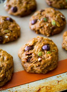 Dark Chocolate Pumpkin Oatmeal Cookies. Chewy, moist, and soft without being cakey.