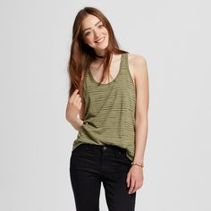 Women's Racerback Tank Top Olive and Black Stripe XL - Mossimo Supply Co.