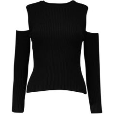 Garage Cold Shoulder Rib Jumper (55 BRL) ❤ liked on Polyvore featuring tops, sweaters, open shoulder sweater, ribbed sweater, cold shoulder sweater, open shoulder tops and cut out shoulder sweater