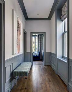 - Floors - Interior Design Ideas Brooklyn CWB Architects Brooklyn Heights - like the floor . Interior Design Ideas Brooklyn CWB Architects Brooklyn Heights - like the floor color but use longer boards. Hallway Paint, Gray Hallway, Wainscoting Hallway, Painted Wainscoting, Hallway Ideas Entrance Narrow, Narrow Hallway Decorating, Entrance Ideas, Entry Hallway, Entrance Hall