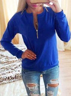 Women's Zip Front Casual Sweatshirt - Four Color Choices