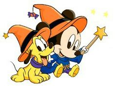Halloween Baby Mickey Mouse and Pluto - Disney Photo . Disney Halloween, Mickey Mouse Halloween, Halloween Clipart, Halloween Images, Baby Halloween, Halloween Ideias, Halloween Greetings, Disney Christmas, Halloween Cards