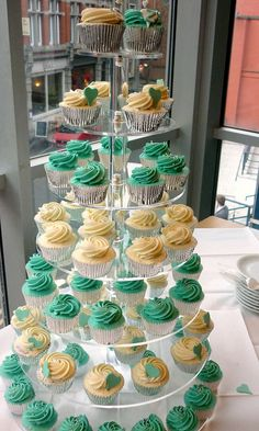 Turquoise wedding cupcake