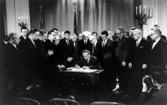 On this day in history:   One week after the death of Dr. Martin Luther King Jr., President Johnson signs into law the Civil Rights Act of 1968, which banned housing discrimination. (Courtesy Library of Congress)