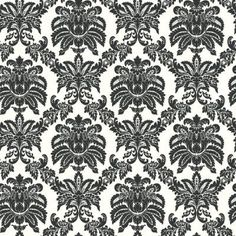 The Wallpaper Company 56 sq. ft. Black and White Sweeping Damask Wallpaper-WC1283420 at The Home Depot