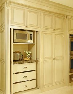 Room By Room Inspiration Series - The Kitchen - Fab Fatale kitchen/pantry wall - breathing drawers for produce, microwave, toaster, coffee maker, etc inside cabinet Appliance Cabinet, Kitchen Appliance Storage, Kitchen Pantry Cabinets, Kitchen Redo, New Kitchen, Kitchen Remodel, Kitchen Design, Appliance Garage, Kitchen Organization