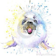 Seal T-shirt Graphics, Marine Seal Illustration With Splash ...
