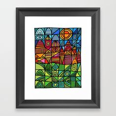 Buy colorful geometric landscape 001 Framed Art Print by thewellkeptthing. Worldwide shipping available at Society6.com. Just one of millions of high quality products available.
