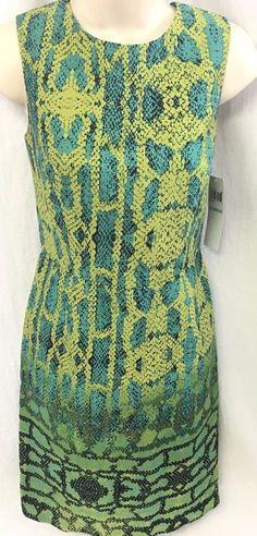 New MUSE Ladies Sleeveless Dress Size 8 Aqua Green 100% Cotton Spring Summer NWT #Muse #WeartoWork