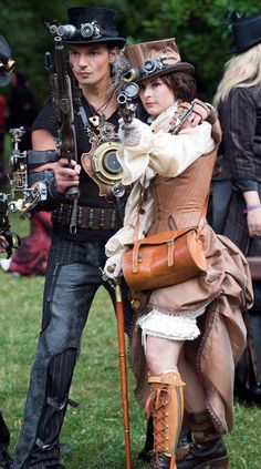 Love steampunk couples! | For more steampunk fashion and ideas, follow http://www.pinterest.com/thevioletvixen/i-love-steampunk/
