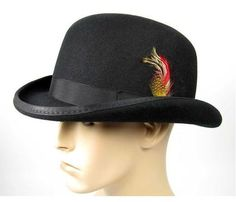 Black Banded Fashion Rounded Top Hat with Feather Detail Unisex