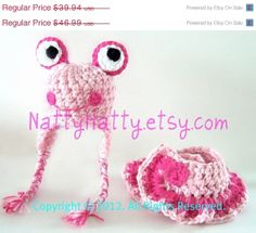 ON SALE Girl the  Pink Frog Handmade crochet Hat and by NattyHatty, $35.95