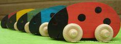 "Touch the rainbow with our lovely new ""Happy Bugzz""!!! Small wooden critters toys. :)"