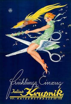 ¤ Spring collection at Julius Krupnik (1930) Germany. Ad by Hans Neumann (1888-1960) A new kind of witch...