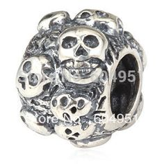 d9e8e5c1d Free Shipping 1PCS/lot 925 Sterling Silver Skull Charm Beads For Halloween  Jewelry Bracelets,
