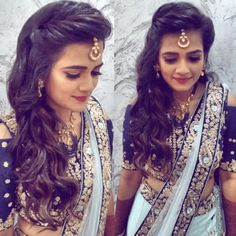Hair style with saree for wedding party Wedding Reception Hairstyles, Bridal Hairstyle Indian Wedding, Curly Wedding Hair, Indian Wedding Hairstyles, Wedding Updo, Wedding Dress, Medium Length Hairstyles, Open Hairstyles, Bride Hairstyles