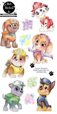 Baby Clip Art, Baby Art, Cute Puppies, Cute Dogs, Paw Patrol Birthday Cake, Paw Patrol Pups, Pinturas Disney, Christmas Paintings, Clipart