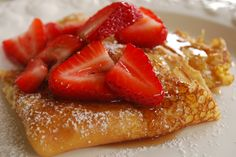 Swedish Pancakes.. I made these this morning.. with fresh made whip cream, raspberries & strawberries and drizzled with a little syrup and powdered sugar.  VERY good!