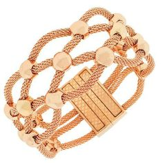 Fine Stainless Steel Rose Gold Tone Mesh Womens Bangle Bracelet with Clasp Daily Diamond Deal. $19.99. Length: 7.50in. Width: 1.00in. Gender: Female. Material: Stainless Steel