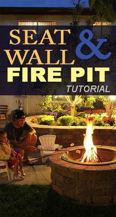 Check out how we installed this seat wall and fire pit! Remodelaholic.com #seat_wall #fire_pit #diy #fire #patio #backyard #roasting_marshmallows