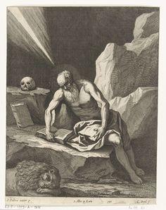 Quirin Boel   Hieronymus in een grot, Quirin Boel, David Teniers (II), in or after 1673 - 1700   De heilige Hieronymus zit in een grot op een steen te lezen. Op de grond ligt de leeuw te slapen. Prent uit de catalogus van Italiaanse schilderijen van Leopold Willem, landvoogd der Zuidelijke Nederlanden, Theatrum Pictorum samengesteld door David Terniers; in de ondermarge staan de afmetingen van het originele schilderij.