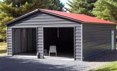 The vertical style metal building comes standard with legs fully enclosed. The cost of the garage door, walk in door or window is not included in the price. Select the garage door size that… Metal Garage Buildings, Metal Garages, Steel Buildings, Outdoor Buildings, Garage Door Sizes, Pole Barn Garage, Garage Doors, Car Garage, Garage Shop