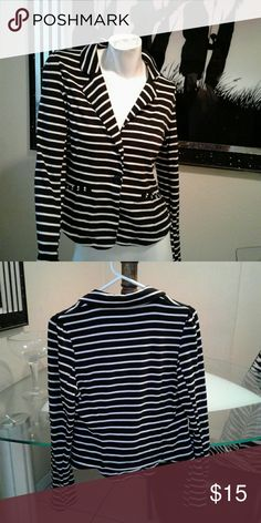 Blazer Stripe black & white blazer 2 button closure soft material stretches No rips or holes has some lint on it which you know can be removed Love Culture Jackets & Coats Blazers