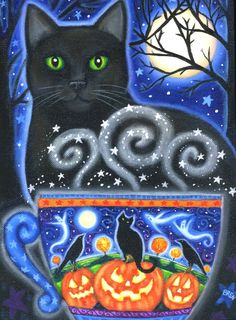 Halloween Magic 2009 - 7 x 9 1/2 inch print - by Brenna White - moon stars fall autumn halloween black cat coffee via Etsy
