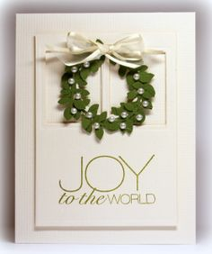 Christmas card ... elegant with gold embossed sentiment,  satin bow and pearls in the wreath ...