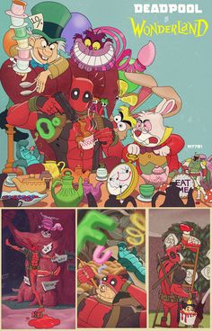 Deadpool in Wonderland. Invite me! Children's books with comic book and movie characters.