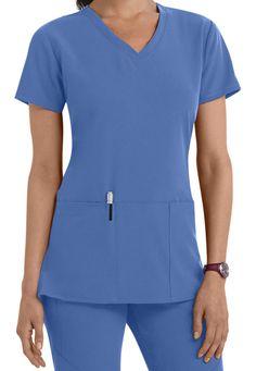 Greys Anatomy Signature 3 pocket v-neck scrub top. Main Image