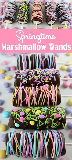 Looking for a unique and delicious Easter treat for your family?  How about Springtime Marshmallow Wands?  So easy to make and you won't believe how delicious  they are. They would be great as a special Easter Dessert, a Mother's Day treat or a Baby Shower dessert.