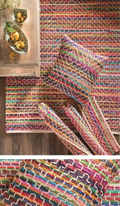 Make Your Own Woven Rag Rug Our Mandira Rag Rugs are available in 3 sizes along with matching cushion. They will add a hit of colour to any room. Hand made in India & fairly traded by Namaste. Rag Rug Diy, Diy Rugs, Braided Rag Rugs, Homemade Rugs, Rag Rug Tutorial, Sewing Room Decor, Weaving Projects, Diy Projects, Diy Interior