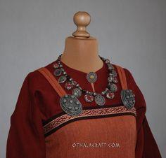 Viking linen dress, woolen aprondressand hood