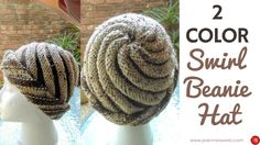 Knitting Patterns Beanie Two Color Swirl Hat – Knitted Swirl Hat – Spiral Beanie 2 Colors Knitting Videos, Crochet Videos, Easy Knitting, Loom Knitting, Knitting For Charity, How To Start Knitting, Crochet Waffle Stitch, Knitted Hats, Crochet Hats