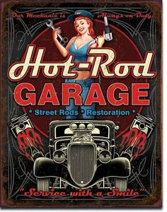 Blechschild Hot Rod Garage-DE1990