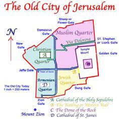 Present Map of the Old City of Jerusalem.