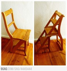 Cool chair design that is also a step stool Shaker Furniture, Home Furniture, Furniture Ideas, Furniture Design, Ladder Chair, Ikea Chair, American Decor, Recycled Furniture, Cool Chairs
