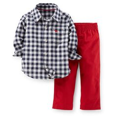2-Piece Cotton Top & Canvas Pant Set | Carter's | Navy and white plaid long-sleeve button-down shirt and red canvas pants