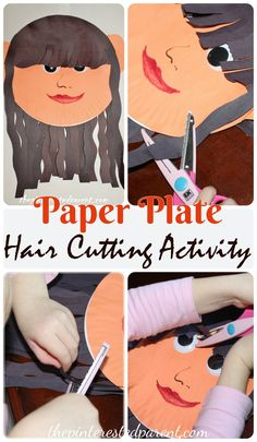 Paper Plate hair cutting activity & craft - this activity is a great fine motor skill activity. My daughter had so much fun with this.
