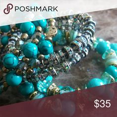 Bracelet Water Goddess Turquoise Wrap n Stack Bracelet Set w/Shell, Marble, and Shimmering Accent Beads that can be worn as a set or 3 individual bracelets Jewelry Bracelets