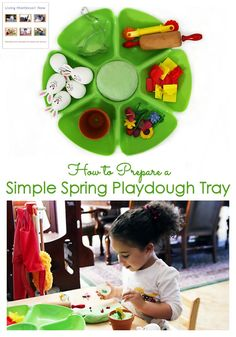 A spring playdough tray is a fun way to improve attention spans & fine-motor skills for toddlers & preschoolers; garden & rabbit theme for home or classroom