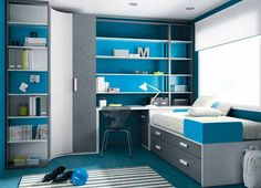 Blue n gray boys room
