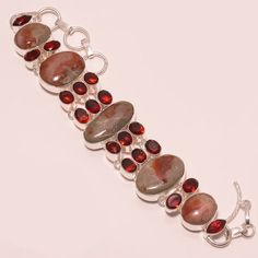 49 GM AMAZING FOSSIL CORAL, MOZAMBIQUE RED GARNET .925 STERLING SILVER BRACELET #Handmade